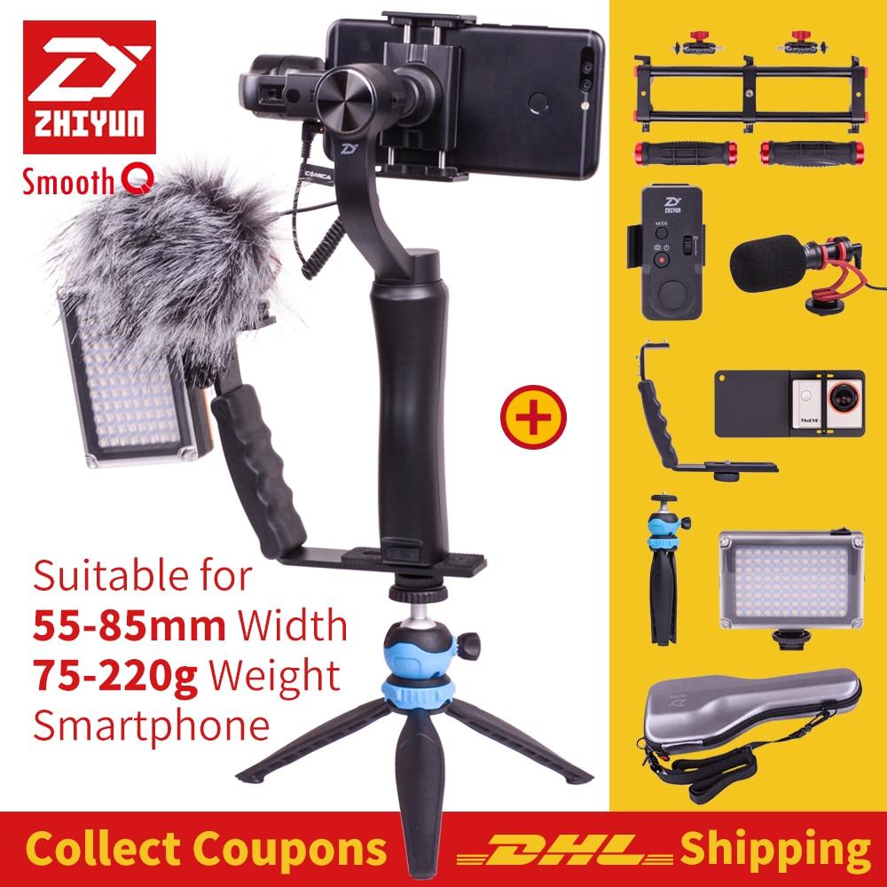Zhiyun Lisse Q smartphone De Poche 3 Axes cardan stabilisateur pour iphone camera action Gopro Trépied Microphone À Distance Adaptateur LED