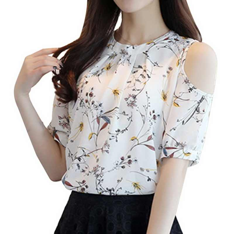 ed61f1fae6e6c4 LASPERAL Brand Plus Size Women Chiffon Shirts Summer Sexy Strapless Short  Sleeve Blouse Vintage Floral Print