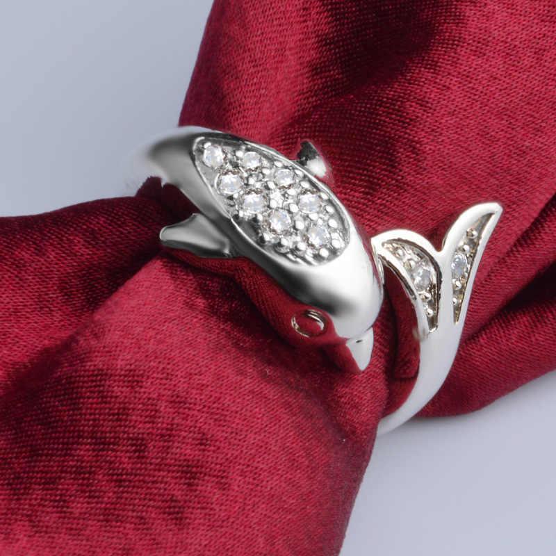 น่ารักปลาโลมา Zircon แหวน 925 เงินสเตอร์ลิงแหวนผู้หญิงเครื่องประดับ Anel Anillos Aneis Bague เครื่องประดับ Anelli Anillo