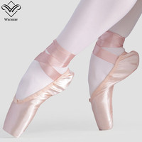 Wechery Women Girls Pointe Shoes Professional Satin Shoes with Bandages Smooth Silk Dance Wear for Stage Shows Big Size