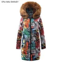 2018 Новая коллекция зима Для женщин куртка пальто оригинальный меховой воротник Для женщин парки модный бренд Для женщин хлопковая стеганая