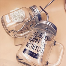 Transparent Glass Smoothie Tumbler with Straw