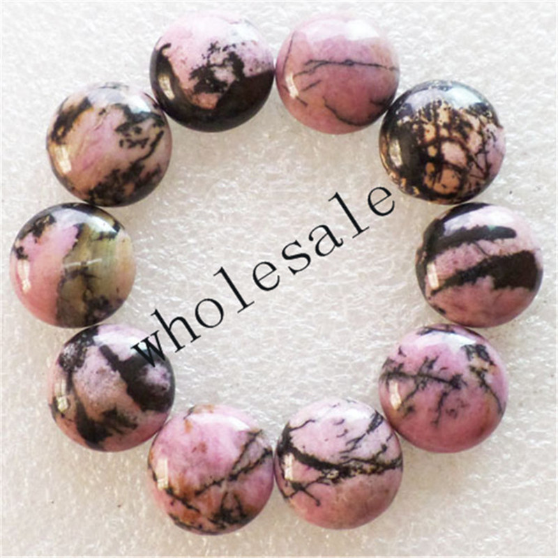 (12pieces/lot) Wholesale Rhodonite Round CAB CABOCHON 16x5mm Free Shipping Fashion Jewelry
