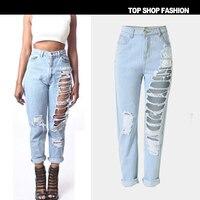 Wysoka jakość Moda Wiosna spodnie Jeansowe Damskie Hot hot style panie dziura luźne kowbojem prosto krótkie spodnie dziewięć minut spodnie