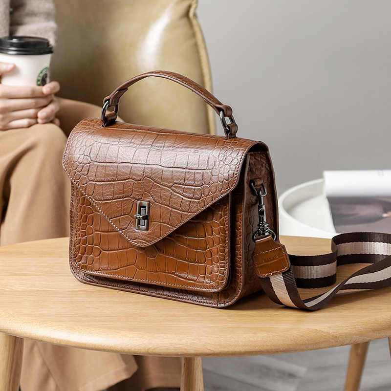 WOONAM Vrouwen Mode Handtas Echt Leer in Alligator Patroon Schouder Flap Messenger Bag WB721