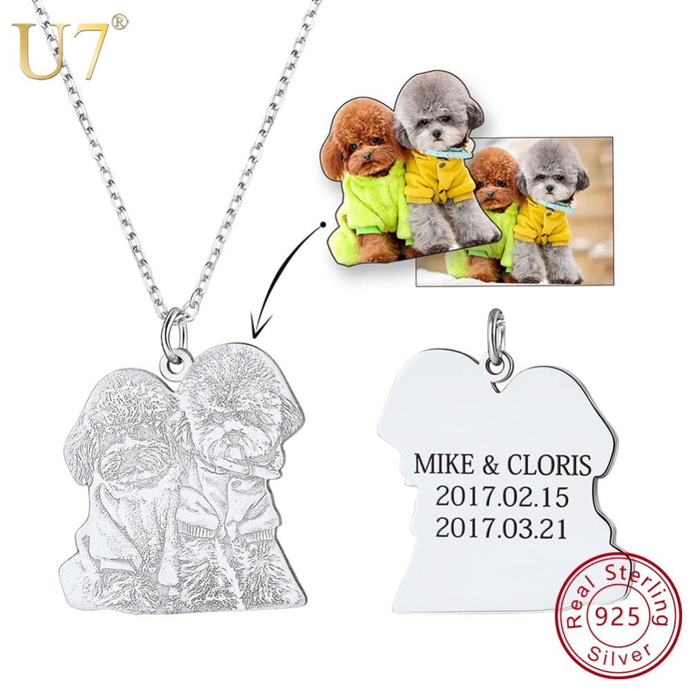U7 925 Sterling Silver Engraved Personalized Photo & Name Custom Pendant Necklaces For Family Lovers Jewelry Special Gifts SC164