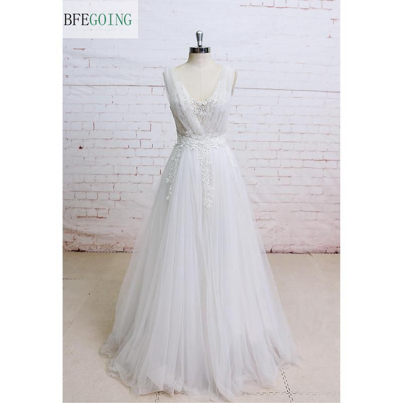 A line Tulle Appliques V Neck Sleeveless Wedding Dress V Back Floor Length Real Original Photos