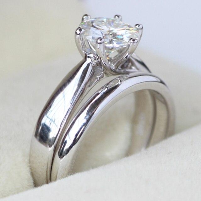 5mm Genuino 585 14 K Oro Blanco 1 Carat ct No Menos Anillo de Diamante de Moissanite Laboratorio Crecido anillo de Compromiso de La Boda Set de GH Para nupcial