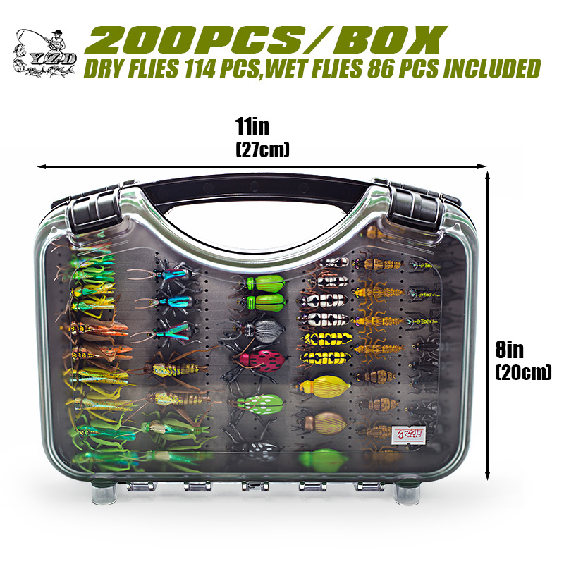 Ultra Fly Fishing flies Set 200pcs Dry Wet Nymph fly lure kit fishing box for carp trout pike fishing kkwezva 36pcs fishing lure butter fly insects different style salmon flies trout single dry fly fishing lures fishing tackle