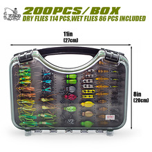 Ultra Fly Fishing flies Set 200pcs Dry Wet Nymph fly lure kit fishing box for carp trout pike fishing