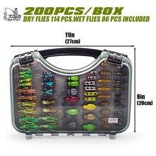 Ультра летать Рыбалка мухи сухой набор 200шт влажные нимфы мухи приманки комплект рыболовные коробки для карп форель щука рыбалка