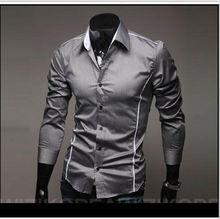 2016 outono marca dos homens que cultivam longo-vestido preto de mangas compridas camisa Social ocasional da camisa dos homens camisa da roupa dos homens