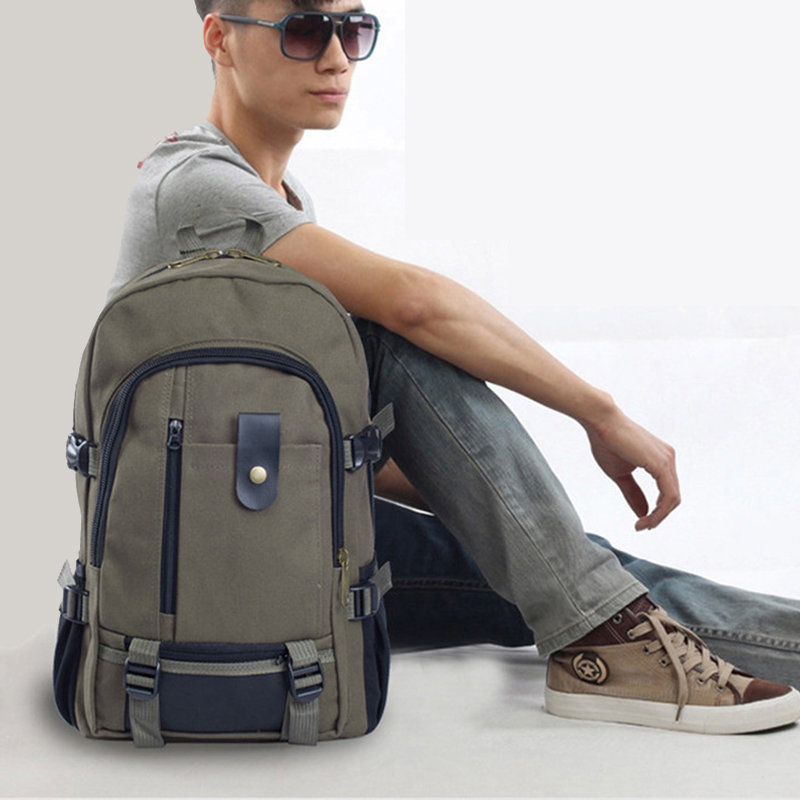 Men Retro Leisure Canvas Travel Backpack Teenager Boy School Leisure Shoulder Women Bag Outdoor Camping Strap Zipper Casual Bag