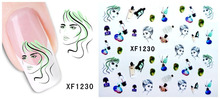 ФОТО xf1230 colorful 3d design tip nail art nail stickers decals nail art decorations free shipping