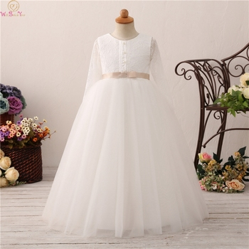 Ball Gown Lace Flower Girl Long Dress 2019 New Girl Long Sleeve Wedding Party Communion Dress Beauty pageant dresses for girls lovely lace flower girl dresses hi low jewel neck pink long sleeve pageant dresses fluffy tiered satin girls pageant dress