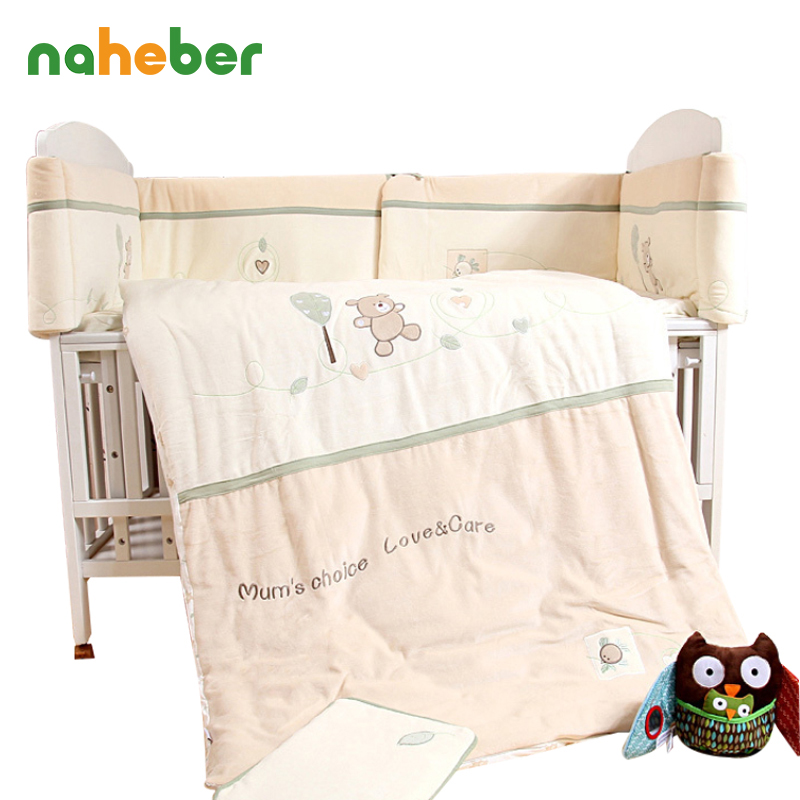 7Pcs Cotton Brand Baby Crib Bedding Set for Girls Boys Cartoon Deer Newborn Baby Bed Linen Cot Quilt Bumpers Sheet Pillow 4 Size