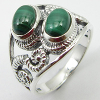 Malachite Ring Sz 7 Face Width 15 mm Ladies New Jewelry Solid Silver Unique Designed