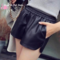 S-XXL 2017 New PU Leather Shorts Women's Black High Quality Short Pants With Pockets Loose Casual Shorts