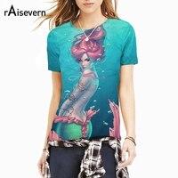 Raisevern Harajuku New Mermaid T Shirt 3D Sexy Cartoon Character Print Summer T Shirt Short Sleeve