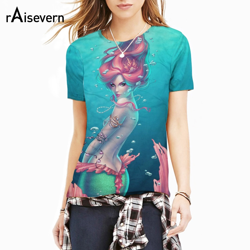 Raisevern Harajuku New Mermaid T-shirt <font><b>3D</b></font> <font><b>Sexy</b></font> <font><b>Cartoon</b></font> Character Print Summer T Shirt Short Sleeve Harajuku Tees Tops Dropship image