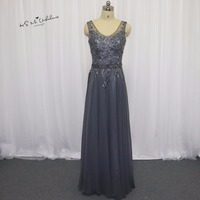 Robe Demoiselle D Honneur Gray Champagne Bridesmaid Dresses Long Dress For Wedding Party Lace Beaded Crystal
