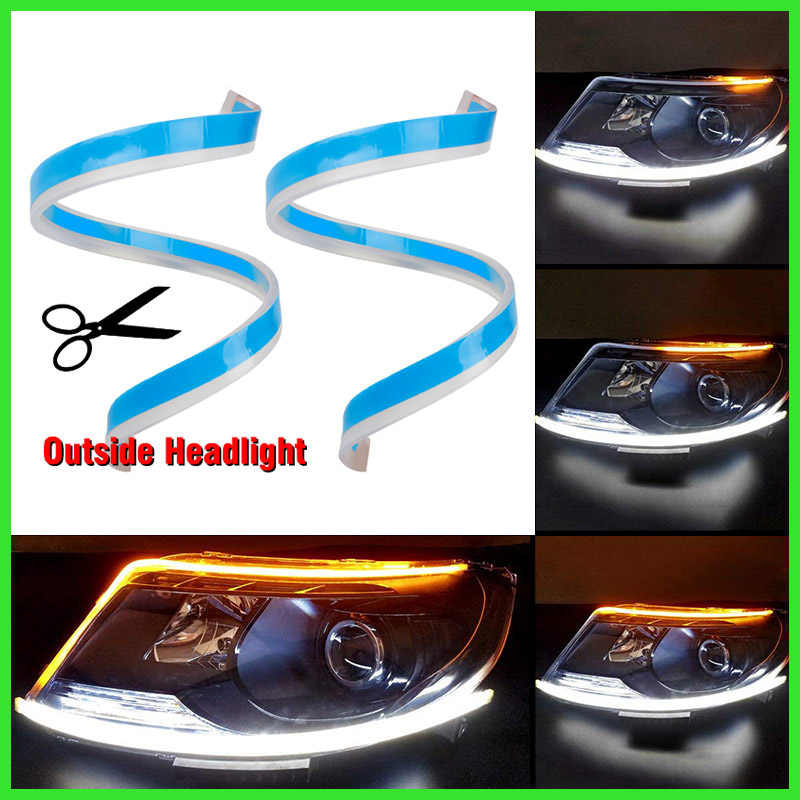 Car Slim Flexible Daytime Running Lights 12V Turn Signal DRL LED Lamp Yellow Flowing Headlight LED Strip Light Waterproof