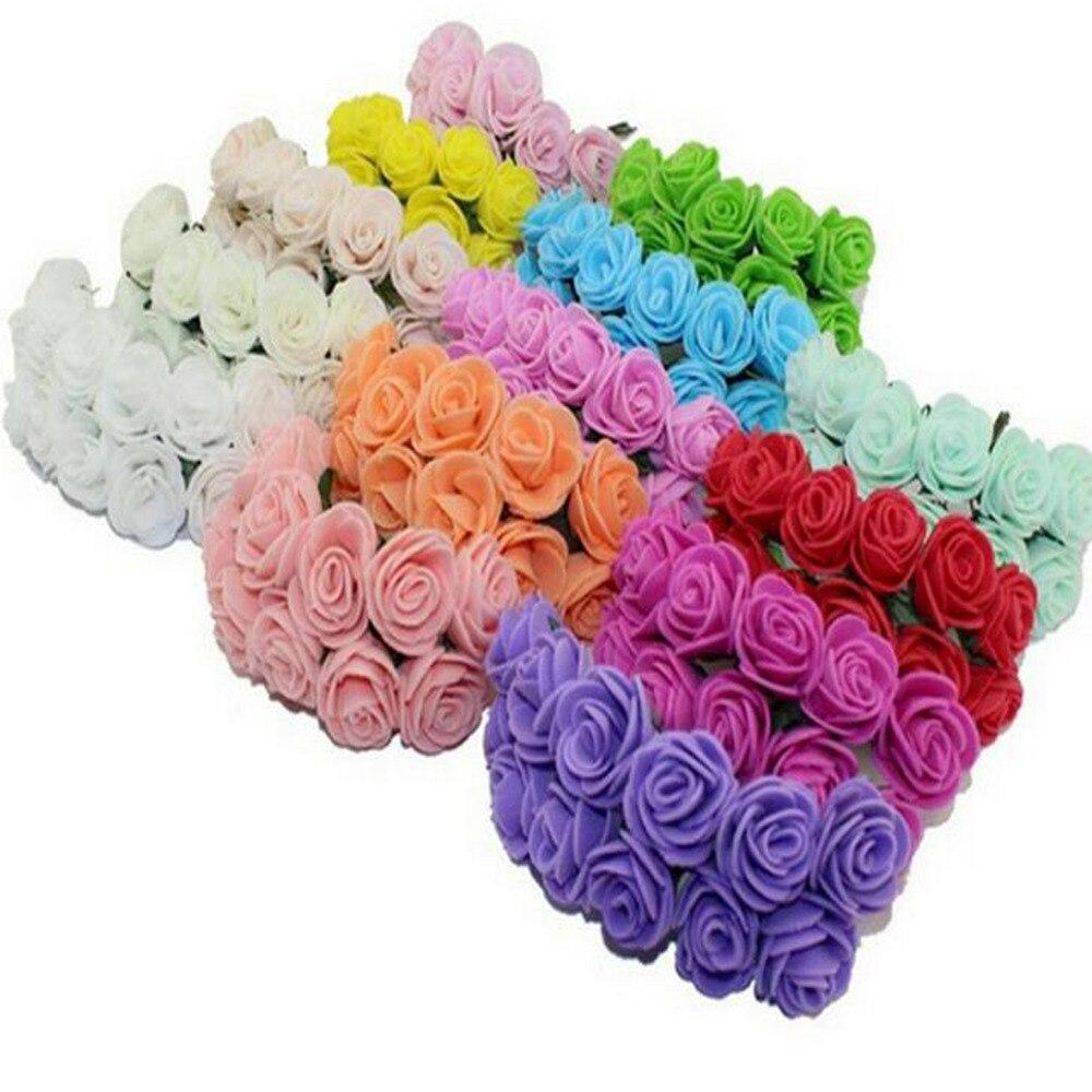 2 см Мульти Цвет ПЭ выросли пены мини-искусственные шелковые цветы букет одноцветное Цвет/свадебные декоративные цветы венки (144 шт./лот)