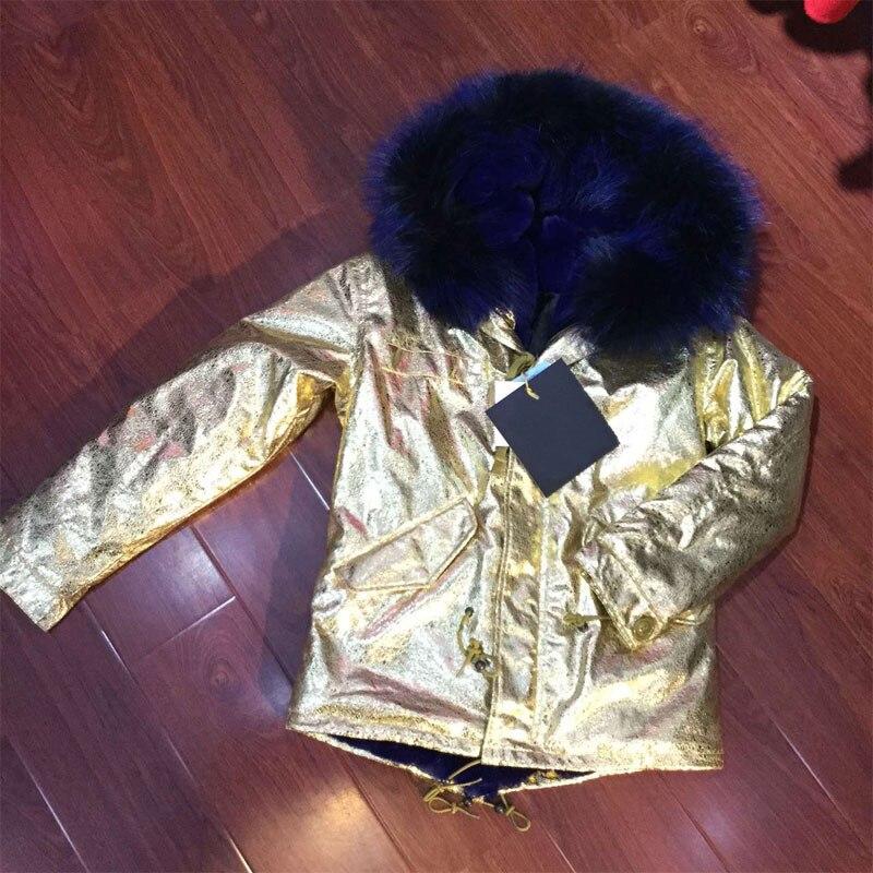 Темно синий из искусственного меха толстая подкладка куртка с из кожи золотого цвета снаружи пальто 2016 новая мода