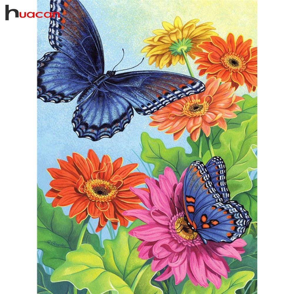 HUACAN 5D Diamond Painting Butterfly Mosaic Rhinestone DIY Diamond Embroidery Cross Stitch Daisy Factory Direct Home Decor