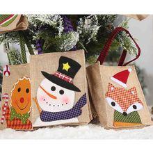 Portable Kids Sackcloth Handbag Christmas Children Candy Gift Holder Treat Bag X