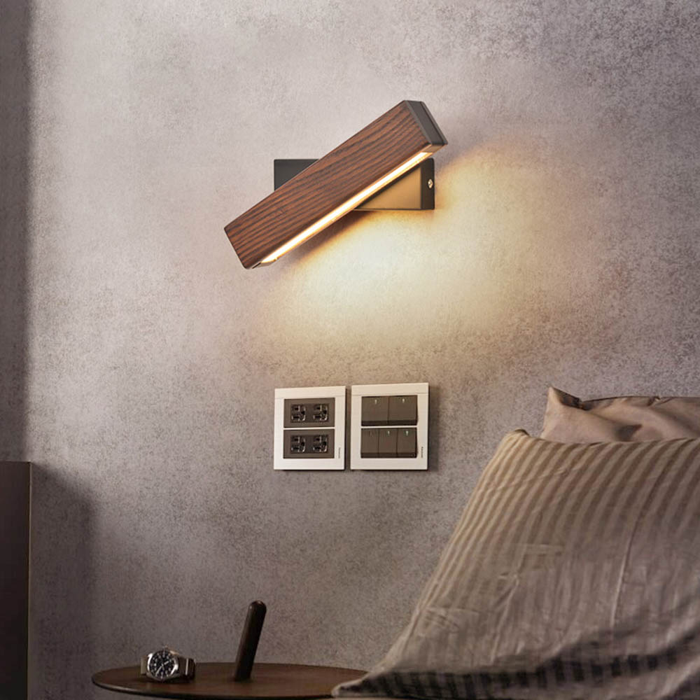Modern Nordic Solid Wood LED Rotated Wall Lamp Bedside Night Light Bedroom Living Room Aisle Sconce