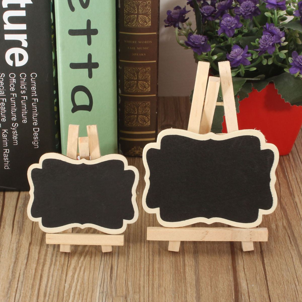 10Pcs Mini Wooden Blackboard Chalkboard Labels Message
