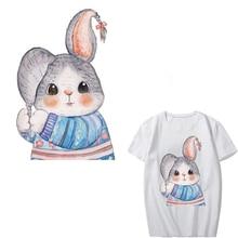Cartoon Rabbit Patch Heat Transfer Vinyl Stickers for Kids Clothing DIY T-shirt Applique Iron-on Transfers Badges Heat Press цена