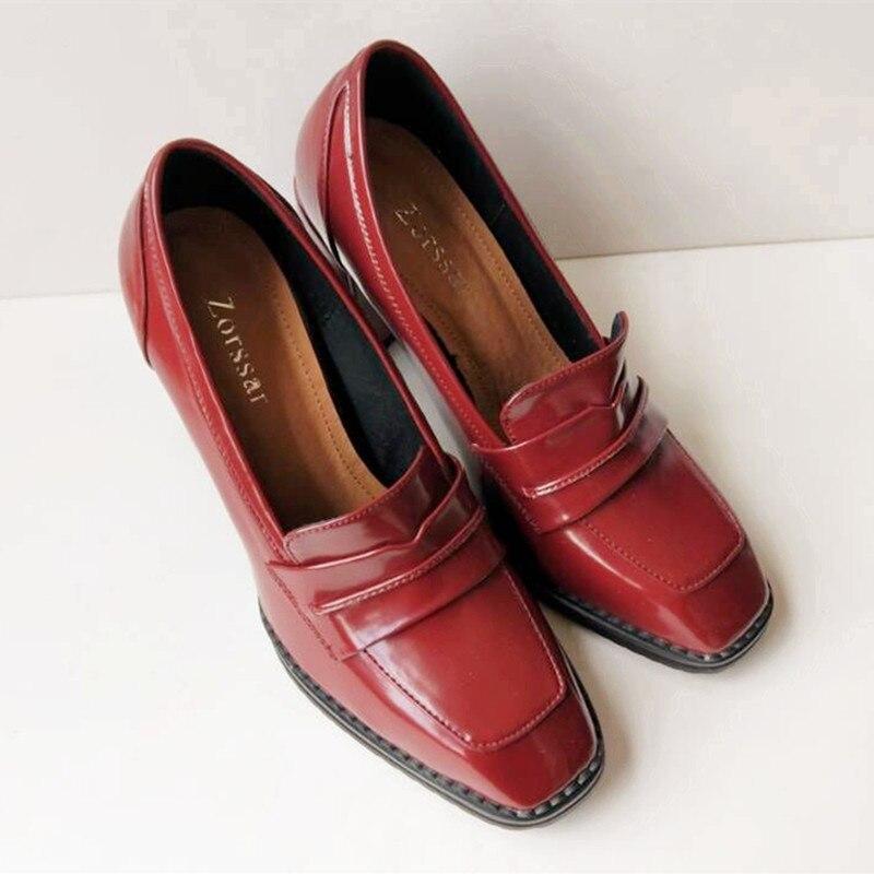 e46a5a89f Confortáveis Slip Único Preto Mulheres Grosso Salto Plataforma Da Vinho  Bombas Moda Das Genuína vermelho Sapatos Alto ...