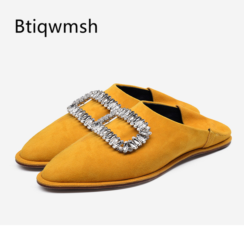 Rhinestone Flat Sandals Women Pointed Toe Bling Bling Crystal Buckle Embellished Slippers Shoes Woman Casual Shoes Party Shoes