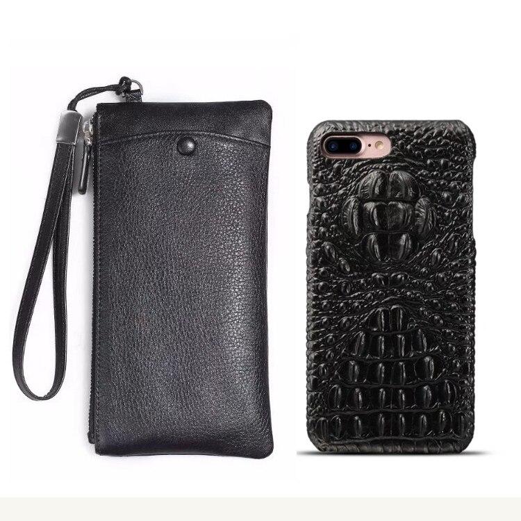 """リアルレザー財布 + バックカバーケース iphone 7 8 プラス 5.5 """"高級本革バックカバーのための iphone 8 プラスバッグ  グループ上の 携帯電話 & 電気通信 からの 財布ケース の中 1"""