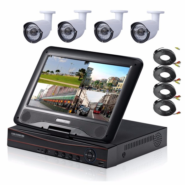 """4CH 1080P HDMI DVR 1200TVL 960P HD Outdoor Security Camera System 4 Channel CCTV DVR Kit AHD Camera Set With 10"""" LCD Monitor"""