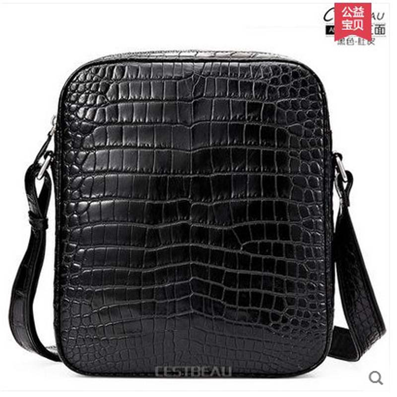 2018 Cestbeau crocodile belly man bag without splicing single shoulder bag leather business men Inclined shoulder men bag men without women