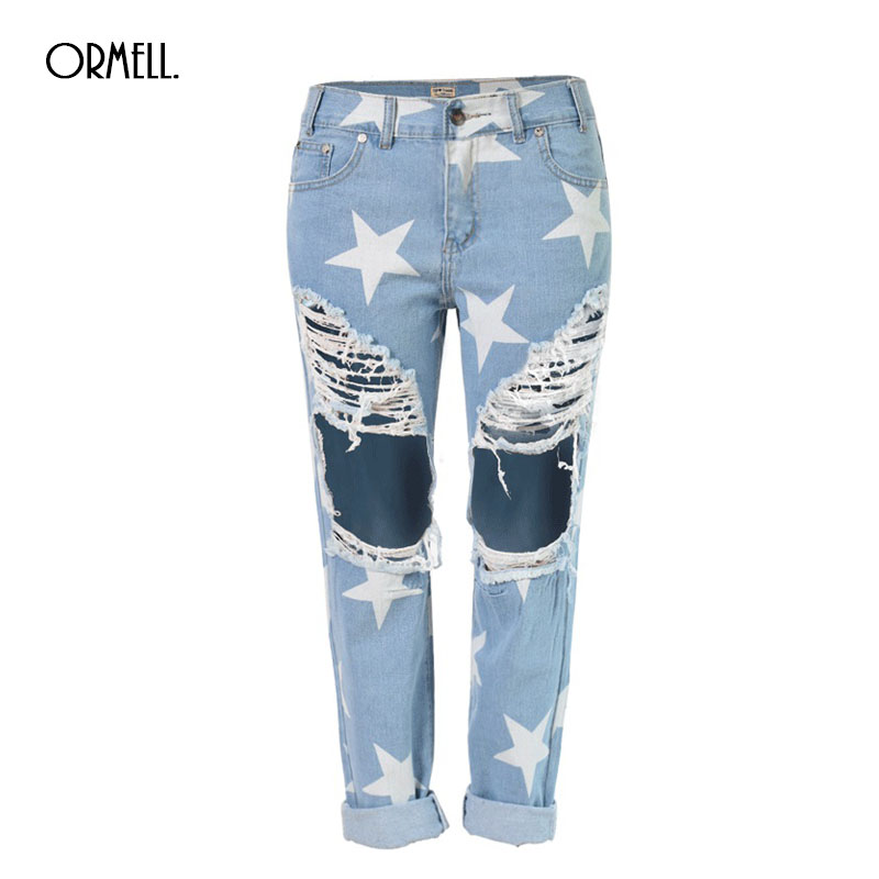 Buy 2016 Summer Fashion Style Big Hole Jeans For Women With Star Ripped Jeans