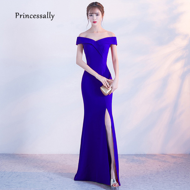 f3c6d2b453c New Elegant Mermaid Evening Dress Floor Length Sexy High Slit Formal Cheap  Prom Party Gown Robe De Soriee 2019 New Arrival