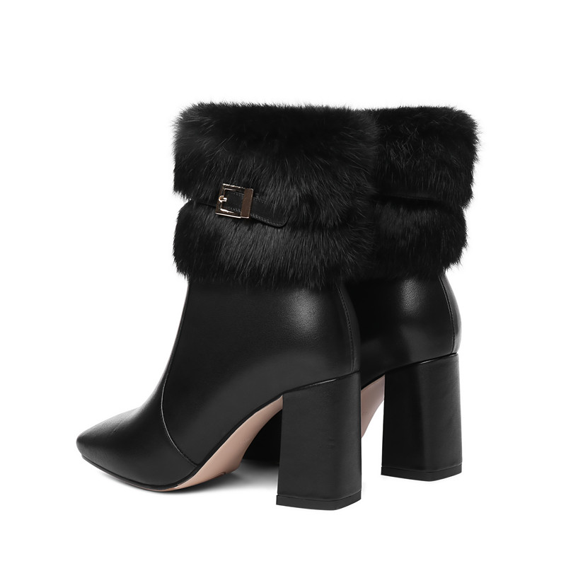 Image 5 - MORAZORA 2020 new arrival genuine leather ankle boots women square toe keep warm winter boots fashion high heels shoes woman-in Ankle Boots from Shoes
