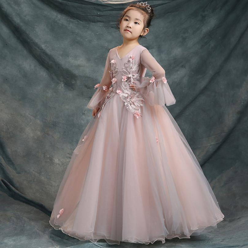 Baby Girls Princecss Dress Children Ball Gown Teens Wedding Party Pageant Gown Embroidery Mesh Modis Kids Clothes Vestidos Y1332Baby Girls Princecss Dress Children Ball Gown Teens Wedding Party Pageant Gown Embroidery Mesh Modis Kids Clothes Vestidos Y1332