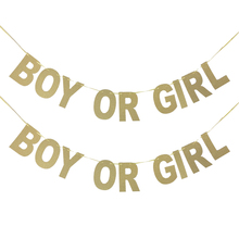 NEW born decoration/Gender Reveal party BOY OR GIRL Banners Glitter Paper Festive & Birthday Party Supplies Bunting Decorations