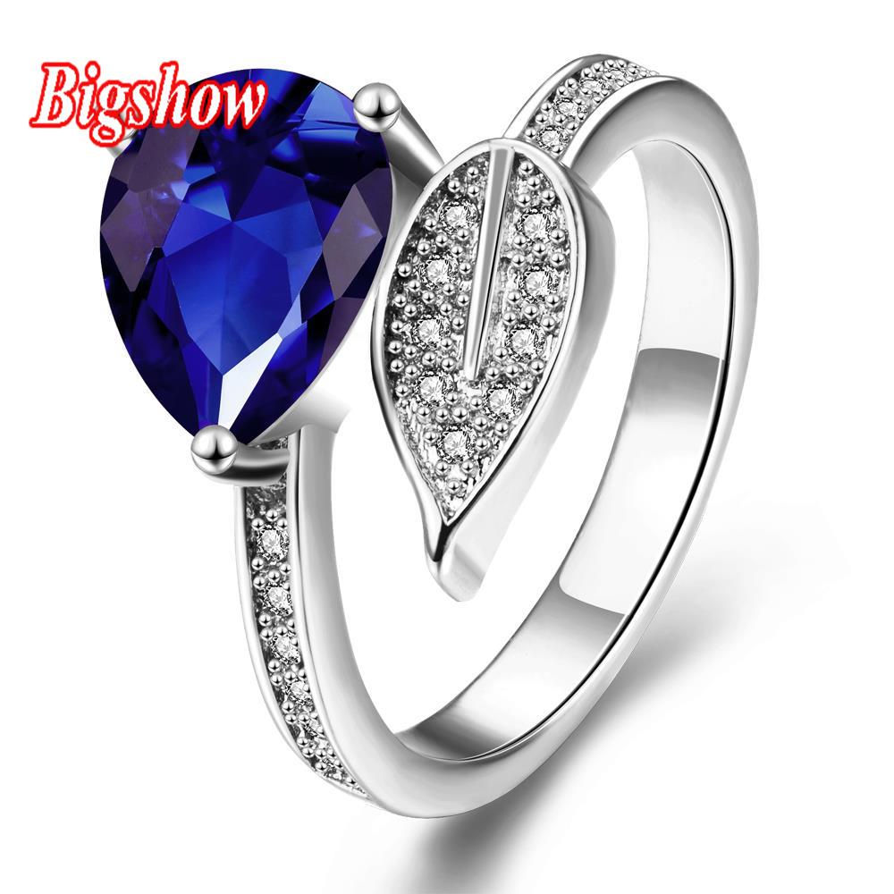 18k real platinum rose gold yellow gold jewelry sapphire Stone rings with Austrian crystals double leaf R293-C-8