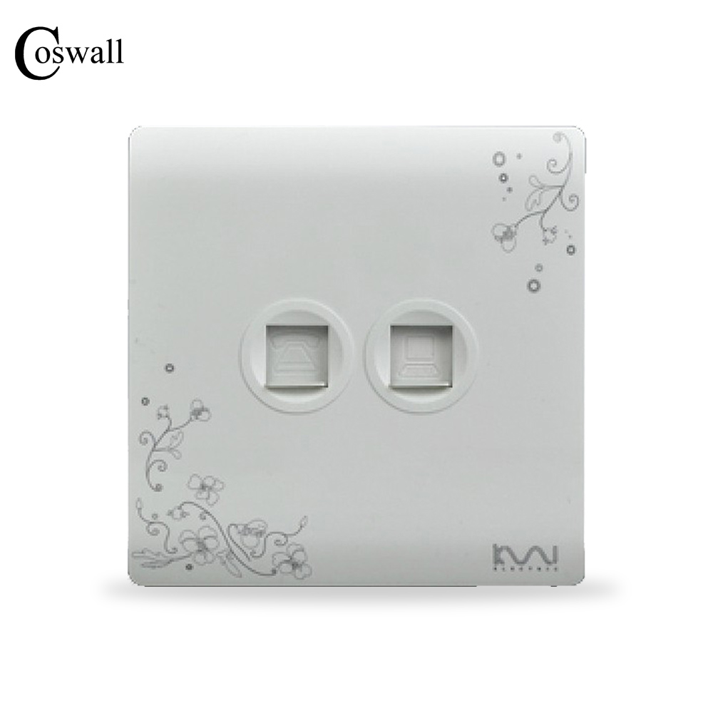 COSWALL Fashion Telephone Socket With RJ45 Data Internet Computer Outlet Ivory White, Brief Art Pattern Panel, AC 110~250V butterfly pattern ultrasonic pert repeller white ac 90 250v 2 flat plug