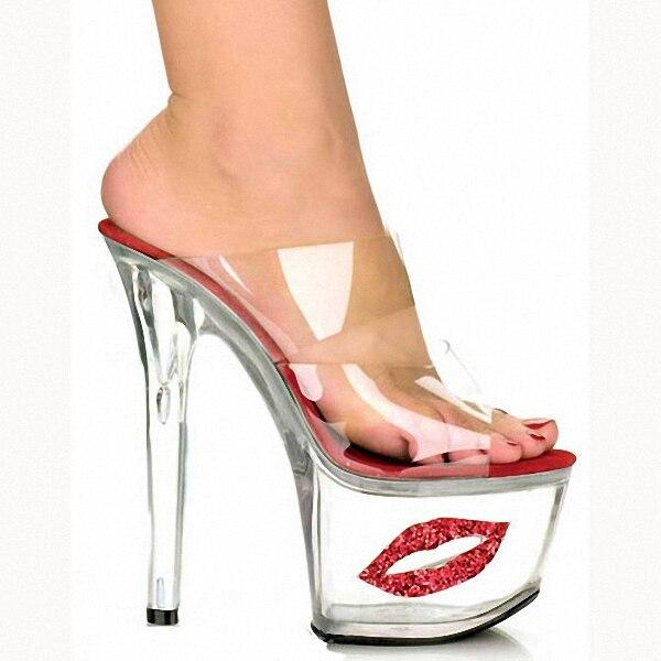 2017 Sexy Crystal Shoes 17cm Ultra High Heels Exotic Dancer Red Lips Platform Slippers Night Club 7 Inch High Heels Fetish night dancer