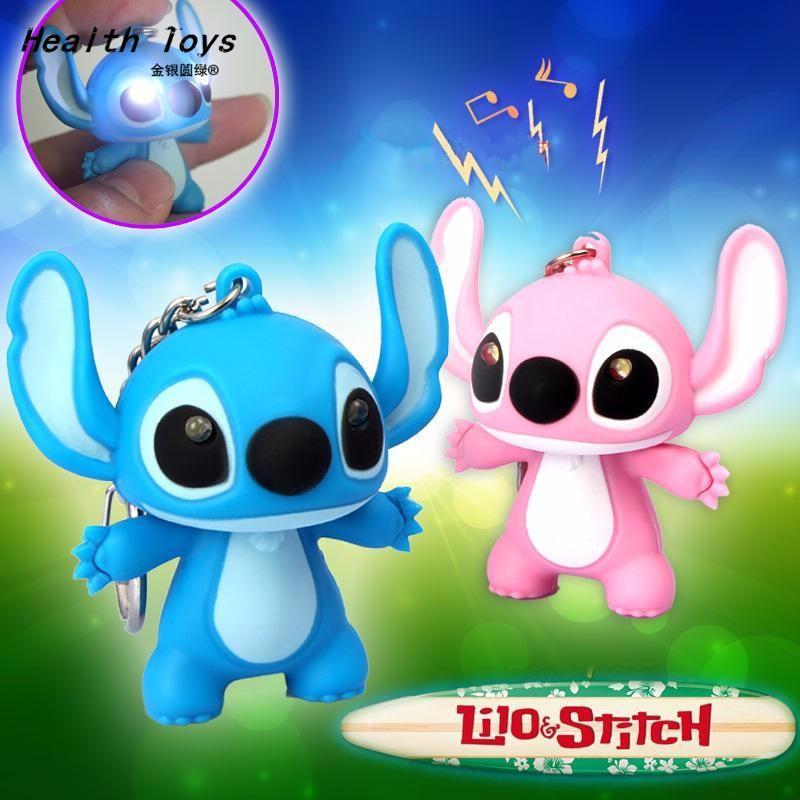 Lilo Stitch LED Flashlight Keychain With Sound Cute Keychains Gift Music Keychain Sound Keychains Free Shipping