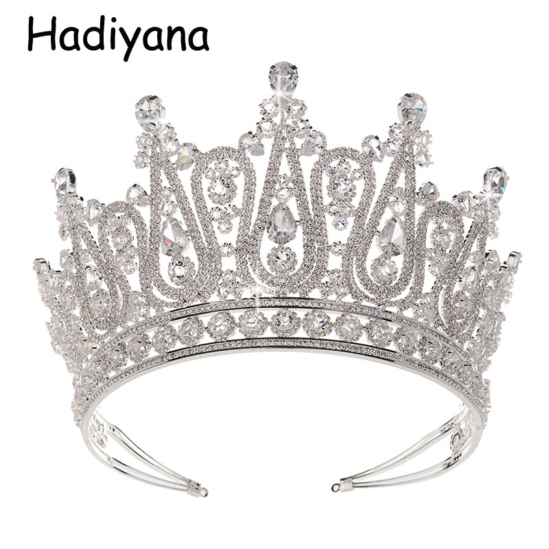Hadiyana 2018 Luxury Silver Large Crown Wedding Pageant Tiara Hair Jewelry Headband Bridal Crowns For Lady