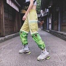 3M Reflection Patchwork Hip Hop Pants Ankle Length Street Dance Women Elastic Waist Loose
