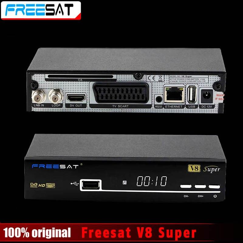 Freesat originais V8 Super Suporte PowerVu Receptor de TV Por Satélite DVB-S2 Youtube Youporn Cccamd Newcamd Biss Key Set Top Box